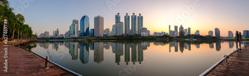 Bangkok city downtown at dawn with reflection of skyline