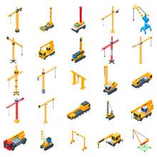 Crane Icons Set. Isometric Set Of Crane Vector Icons For Web Design Isolated On White Background