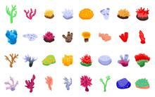 Coral Icons Set. Isometric Set...