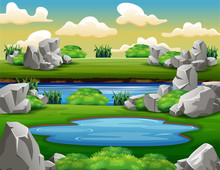Background Scene With Rocks Ar...