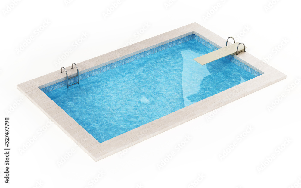 Fototapeta Generic swimming pool isolated on white background. 3D illustration