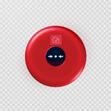 Fire alarm isolated on transparent background. Red evacuation button. Vector warning bell, siren or alert safety system..