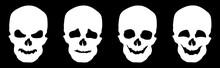 White Skulls Isolated On Black...