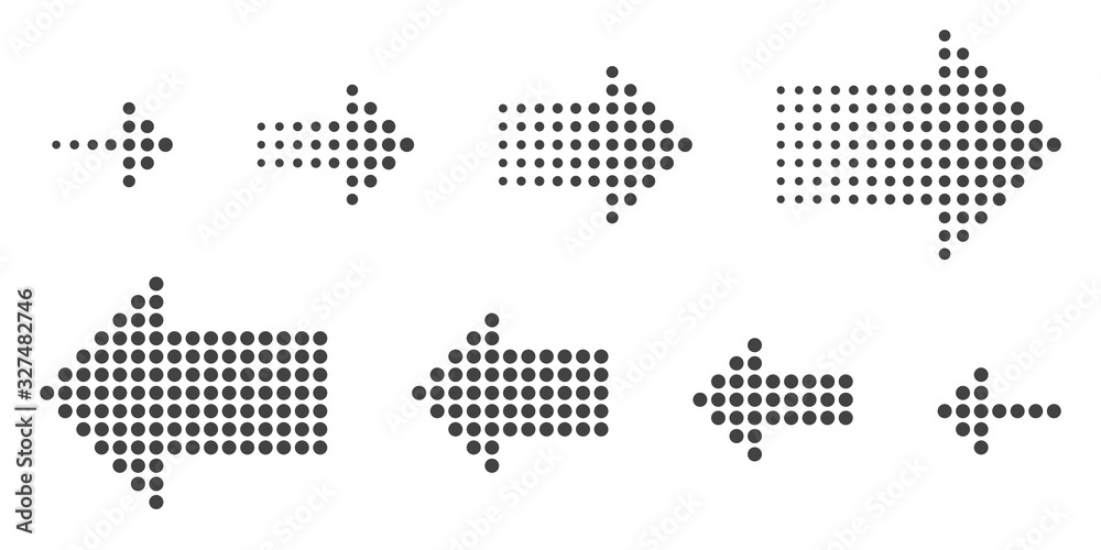 Fototapeta Dotted arrows set. Vector halftone arrows.