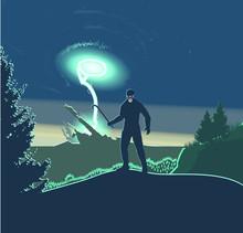 Half Life Gordon Freeman Against The Background Of The Portal Explosion