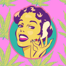 Smiling Woman On Cannabis Leaf Background