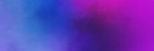 Slate Blue, Dark Orchid And Very Dark Magenta Colored Vintage Abstract Painted Background With Space For Text Or Image. Can Be Used As Horizontal Header Or Banner Orientation