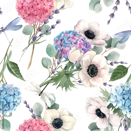 Beautiful vector seamless pattern with watercolor pink, blue, violet hydrangea flowers and white anemones with lavander Fototapeta