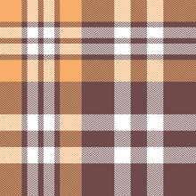 Plaid Pattern Vector. Seamless Taupe Brown And Soft Orange Check Plaid Background For Flannel Shirt, Scarf, Blanket, Or Other Modern Home Or Fashion Textile Design.