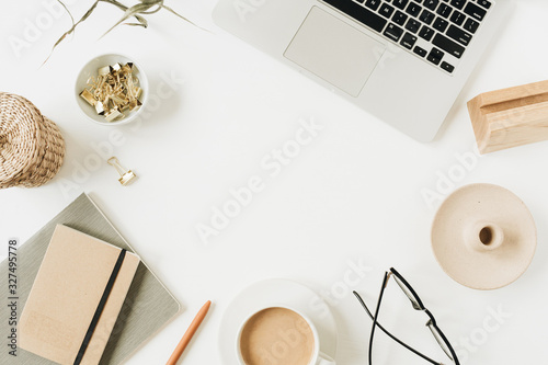 Obraz Blank copy space frame. Home office desk workspace with laptop on white background. Flat lay, top view girl boss work business hero header template. - fototapety do salonu