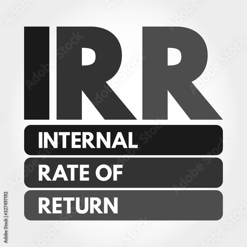 IRR - Internal Rate of Return acronym, business concept background Canvas Print