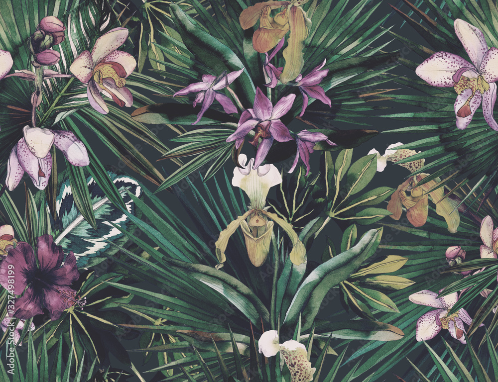 Tropical seamless pattern with tropical flowers, banana leaves. Round palm leaves, watercolor painted orchids.