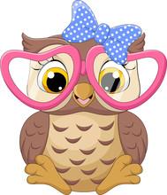 Cute Little Owl Girl Wearing P...
