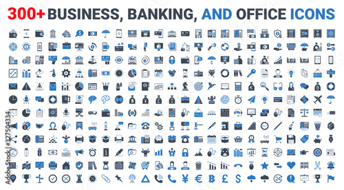 Fotografía Set vector business, banking and finance icons blue