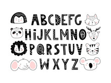 Cute Alphabet And Animals In Nordic Hygge Style. Modern Day Nursery Poster. Simple Hand Drawn Black Letters With White Decor, Set For Design. Flat Illustration Isolated On White Background.