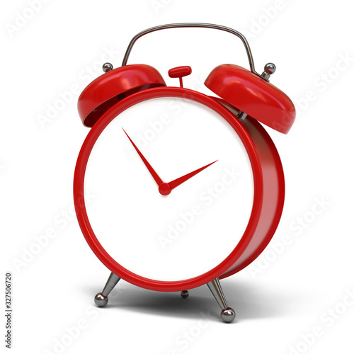 Red alarm clock isolated on white background 3d rendering Canvas Print