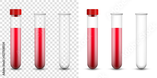 Carta da parati Creative vector illustration test tubes, laboratory glassware isolated on transparent background