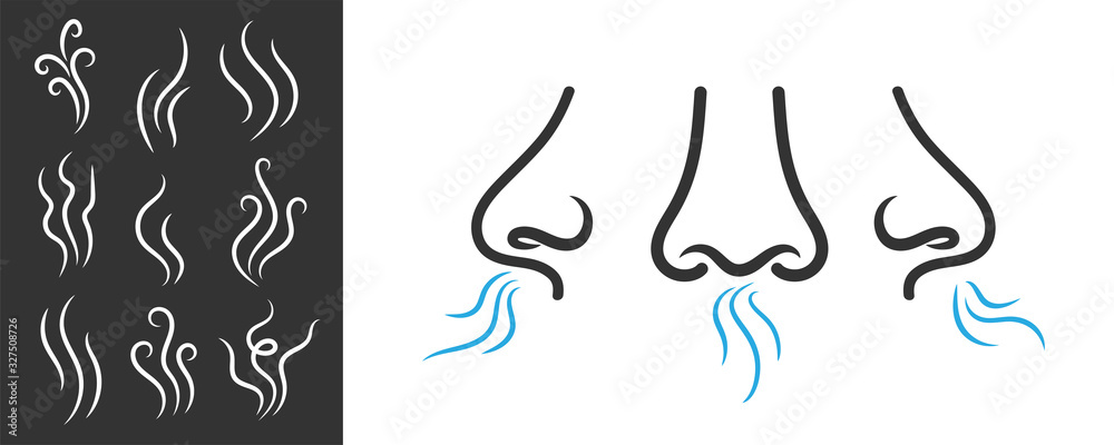 Fototapeta Creative vector illustration of smell symbols, nose, air, vapour smoke isolated on background. Art design breathing aroma smell template. Abstract concept smoke steam pictograms, nose senses element