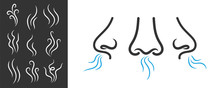 Creative Vector Illustration Of Smell Symbols, Nose, Air, Vapour Smoke Isolated On Background. Art Design Breathing Aroma Smell Template. Abstract Concept Smoke Steam Pictograms, Nose Senses Element