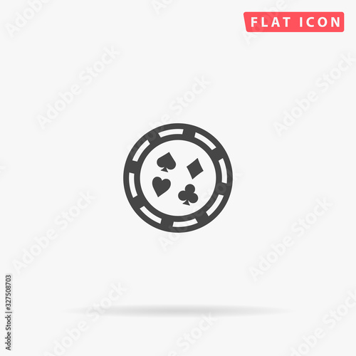 Casino, Poker Chip flat vector icon Wallpaper Mural