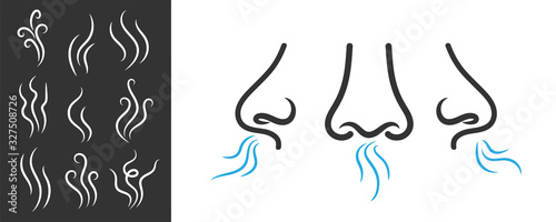 Obraz Creative vector illustration of smell symbols, nose, air, vapour smoke isolated on background. Art design breathing aroma smell template. Abstract concept smoke steam pictograms, nose senses element - fototapety do salonu