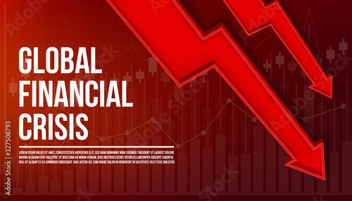 Cuadros en Lienzo Creative vector illustration of global finance crisis background