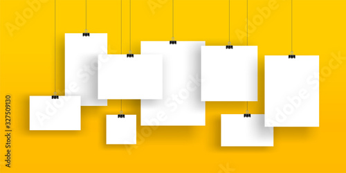 Obraz na plátně Creative vector illustration of blank hanging list, photo frames, a4 paper sheet isolated on background