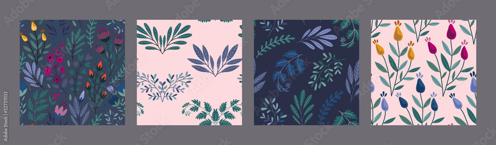 Fototapeta Set of vector colorful natural floral seamless patterns