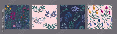 Set of vector colorful natural floral seamless patterns
