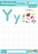 Letter Y Uppercase And Lowercase Tracing Practice Worksheet A4