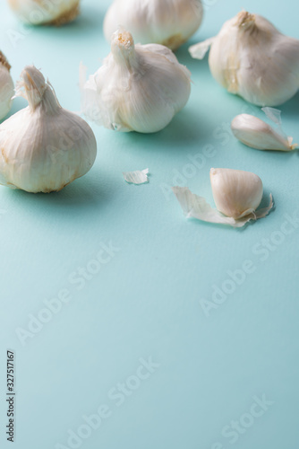 A lot of garlic on a light blue background, top view Canvas Print