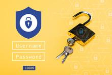 Padlock With Keys Near Usernam...