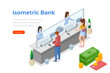 Isometric Cashdesk with People and Money Coins Bank Card icons vector illustration. Cashier operates with visitors at Bank cahs-desk
