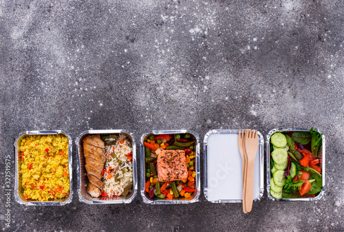 Food delivery concept. Lunch in container - 327519575