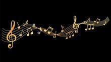 Musical Wave. Gold Music Notes...