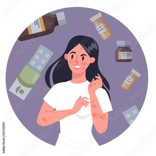 Woman with medecine allergy Wallpaper Mural