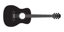 Acoustic Guitar Black Silhouet...