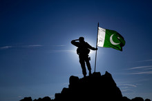 Soldier With The Pakistani Flag