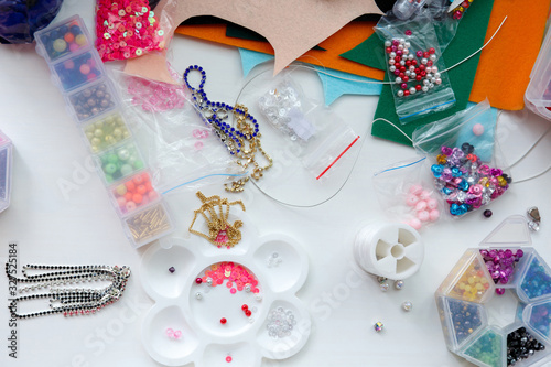 hobbies, mess on the table and workspace for beadwork Canvas Print