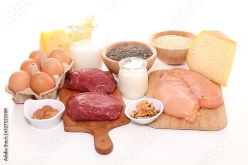 assorted of food high in protein- beef, egg, cereal, cheese, bean Fototapeta