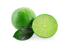 Green Lemons Isolated On White Background