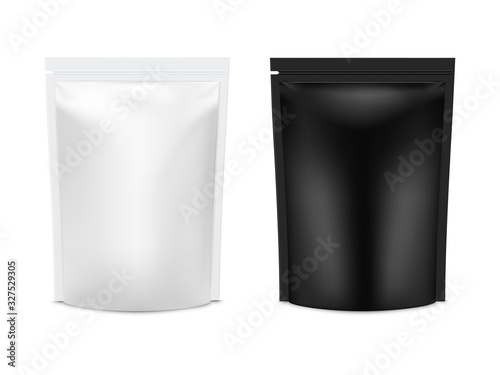 Realistic vector mock up plastic Black and white Food Stand Up Flexible Pouch Sachet set Fototapet