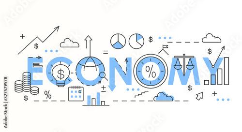 Fototapeta Economy word colorful lettering composition vector illustration obraz