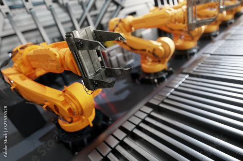 Robotic arms along assembly line in modern factory. Wallpaper Mural