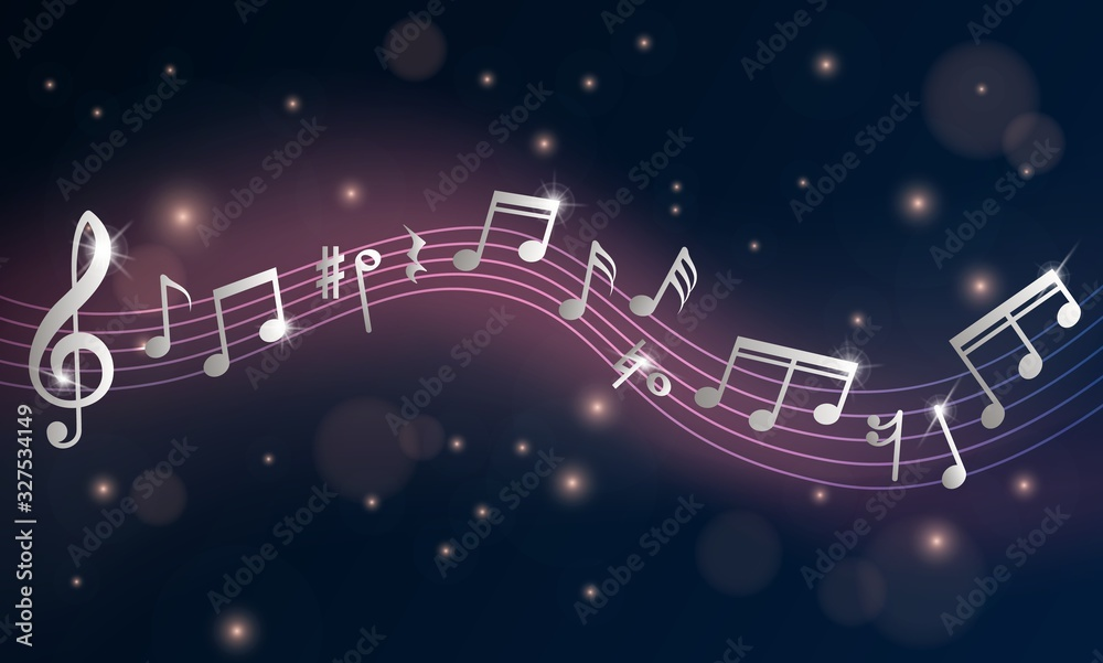 Fototapeta Music notes. Musical poster, silver note symphony. Piano concert or event announcement flyer. Retro shine wave stave vector background. Illustration music treble, clef classic tune, tone melody