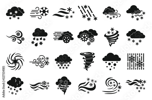 Blizzard icons set Canvas Print