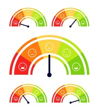 Mood Scale. Stress Indicator, Health Levels Meter. Customer Report Satisfaction Analysis. From Happy To Angry Ratings Vector Illustration. Scale Rating, Level Indicator Mood, Measurement Color Emotion