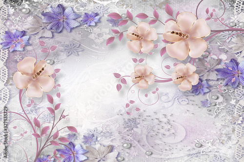 Obraz kwiaty   3d-mural-illustration-background-with-golden-pearl-jewelry-butterfly-and-flowers-circles