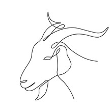 Goat Head In Continuous Line Art Drawing Style. Capricorn Minimalist Black Linear Sketch Isolated On White Background. Vector Illustration