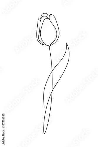 Canvas Print Tulip flower in continuous line art drawing style